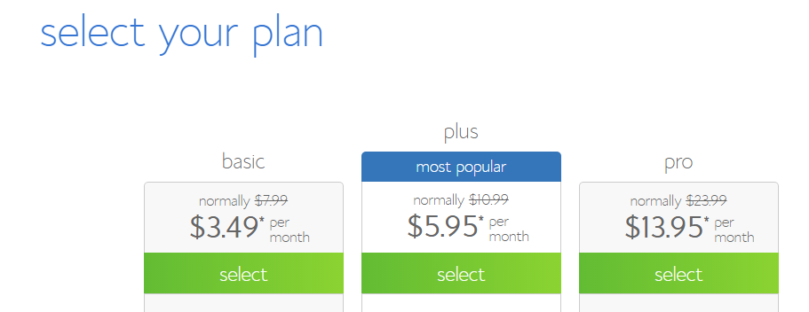 start a blog select hosting plan