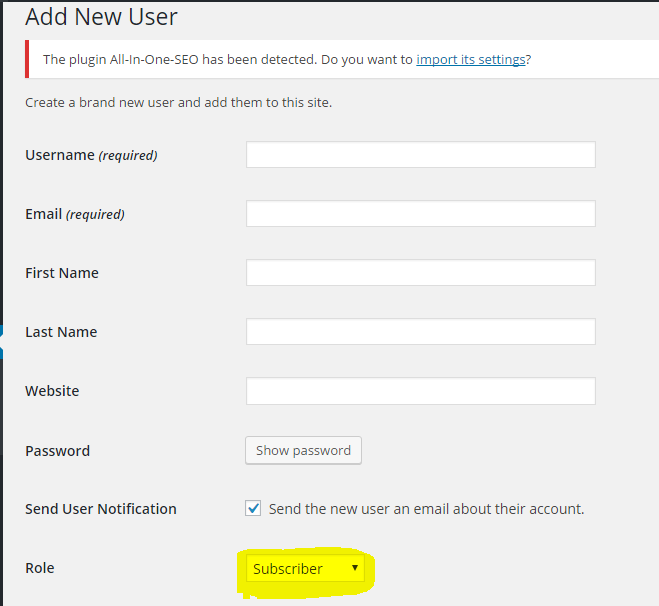 add wordpress user