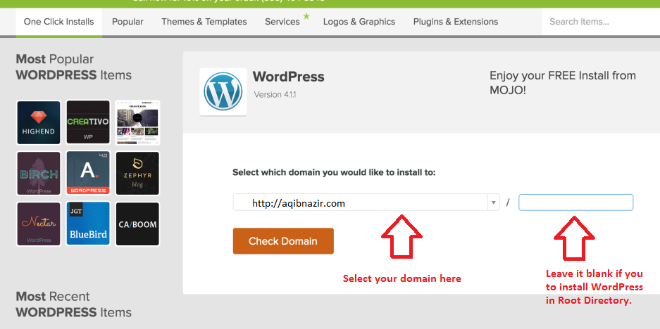 wordpress domain installation bluehost
