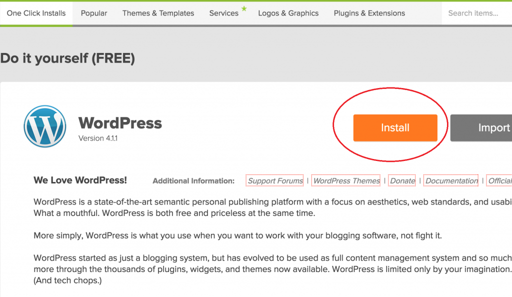 install wordpress on bluehost