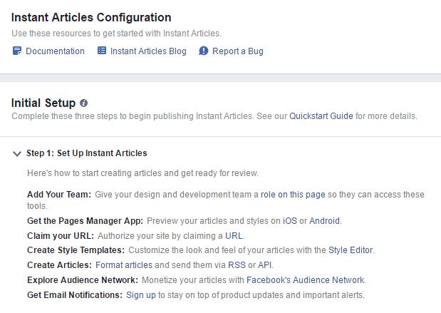 Instant Articles Configuration 1