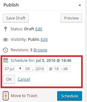 Schedule Posts In WordPress Step 2